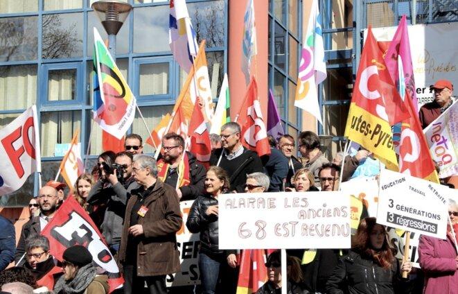 Manifestation de la fonction publique, jeudi 22 mars, à Tarbes (Hautes-Pyrénées). © Manu Riondé