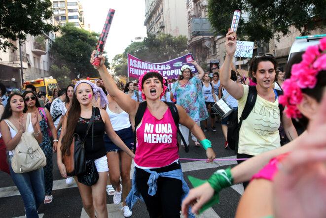 Dans la manifestation du 8 mars 2018 à Buenos Aires. © Reuters / Marcos Brindicci