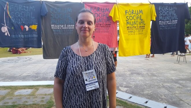 Bia Barbosa sur le campus du FSM © Benjamin Joyeux