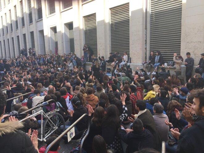 Au rassemblement de soutien, le 23 mars à Montpellier. © Benjamin Téoule
