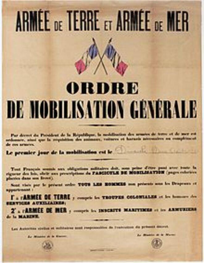 Ordre de mobilisation générale - 2 août 1914 © Archives Nationales
