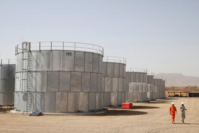 Citernes de stockage de la compagnie Tullow Oil, au Kenya, en février 2018. © Reuters