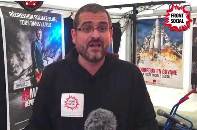 Gaël Quirante, en septembre 2017 © capture d'une vidéo du Front social - Youtube