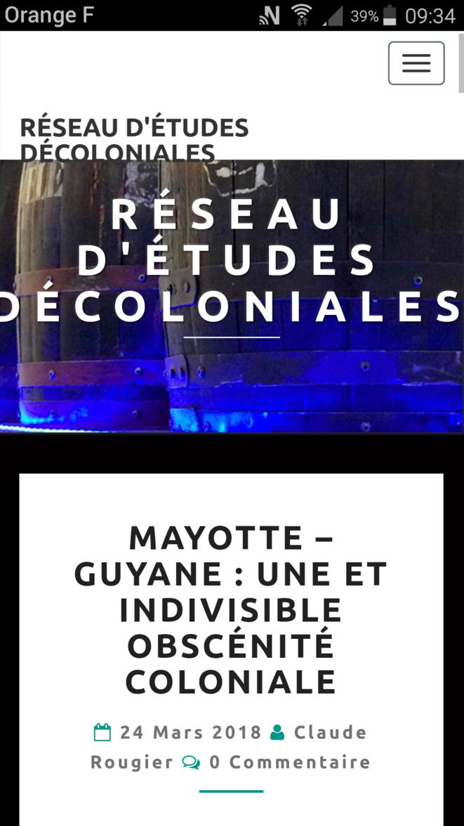 Capture d'écran du site de la Revue d'Études Décoloniales - (RED)