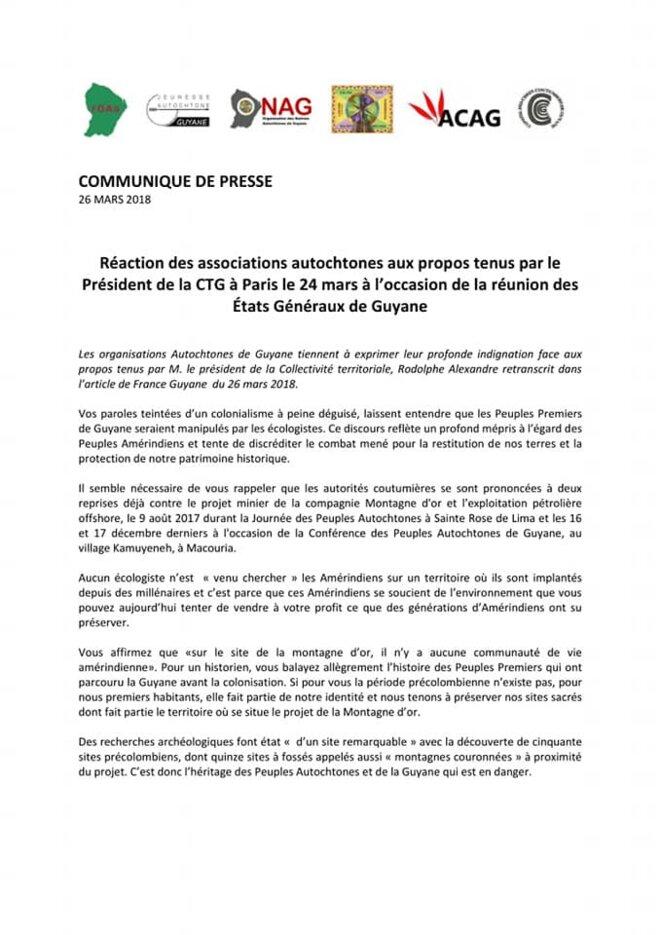 Communiqué de presse des associations autochtones de Guyane 1/2