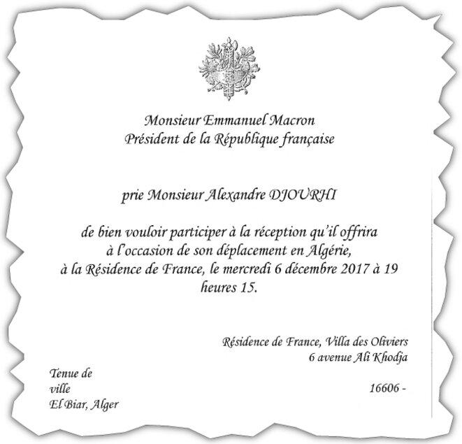 Le carton d'invitation d'Alexandre Djouhri transmis par l'ambassade de France. © Dr