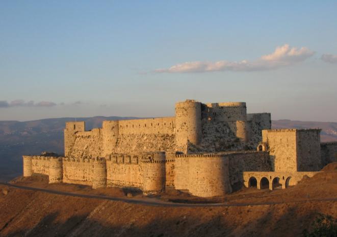 """Chateau """"Krak des Chevaliers"""" situé dans l'Ouest de la Syrie, reconnu au patrimoine mondial de l'UNESCO"""