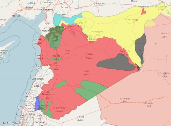 Les forces en présence en Syrie au 28 mars 2018 (en rouge le territoire contrôlé par le régime et ses alliés, en vert les forces anti-gouvernementales [islamistes et autres] en gris les poches de l'État islamique, en jaune les zones kurdes, en bleu clair l'armée turque). © SyrianCivilWarMap.com