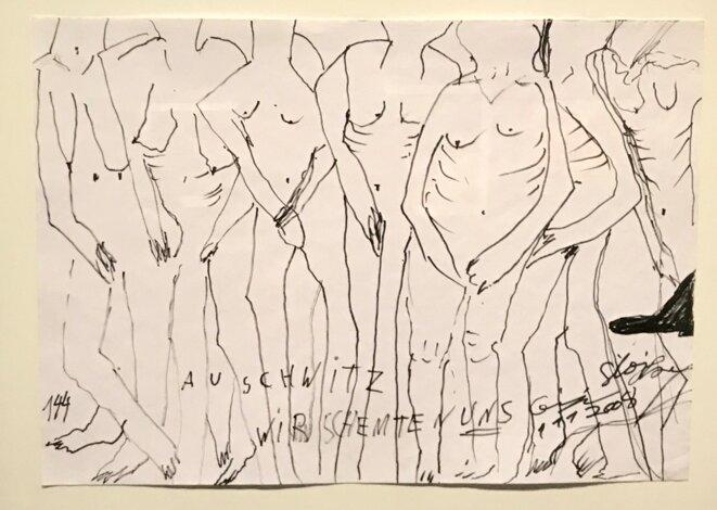 "Ceija Stojka, ""Auschwitz wir schemte n uns"", encre sur papier. © Ceija Stojka"