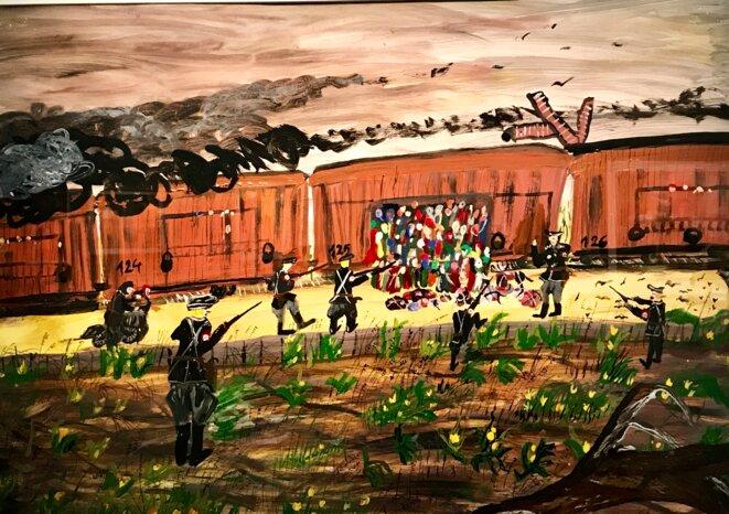"Ceija Stojka, ""Déportation dans un camp d'extermination"",  Huile sur carton, 1994 © Ceija Stojka"