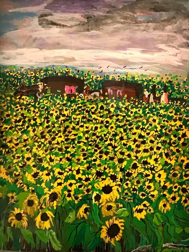 """Ceija Stocka,""""Voyage d'été dans un champ de tournesols"""", Acrylique sur toile © Ceija Stojka"""
