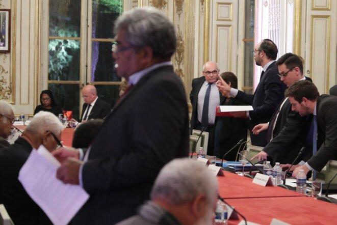 Comité des signataires de l'accord de Nouméa, le 27 mars. © Twitter/@EPhilippePM
