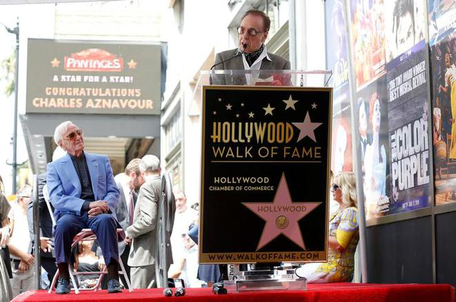 Charles Aznavour in Hollywood on August 24th, 2017, as his star is unveiled on the 'Walk of Fame'. © Reuters