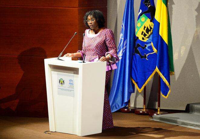 REMISE ATTESTATIONS TRAIN MY GENERATION - Le ministre de l'Education nationale, Nadine Patricia Anguilet Obame © DCP