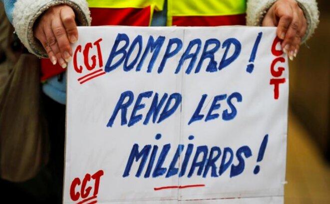 Le 5 février 2018, lors d'un précédent mouvement de grève chez Carrefour. © Reuters/Charles Duvignau