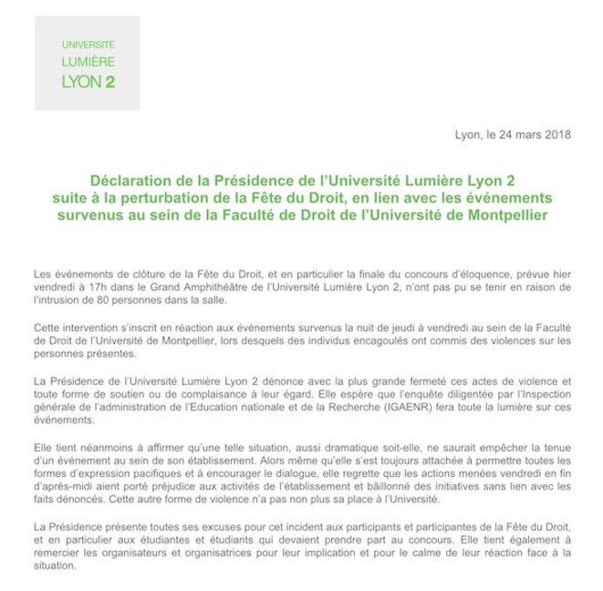 communiqué Lyon2 24/03