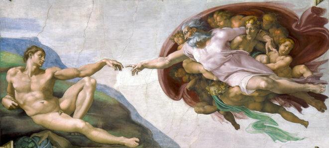 Michel-Ange, chapelle sixtine, la création d'Adam.