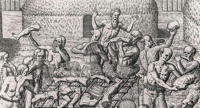 Cannibalisme au Brésil en 1557 décrit par Hans Staden. © DR
