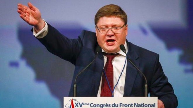 Andreï Issaïev à la tribune du congrès du FN. © Reuters