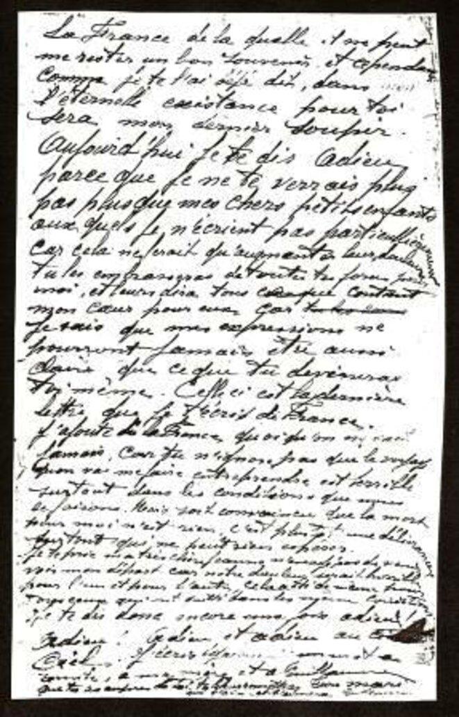 Dernière lettre de Guillaume Seznec à sa femme Marie-Jeanne (document Denis Langlois)