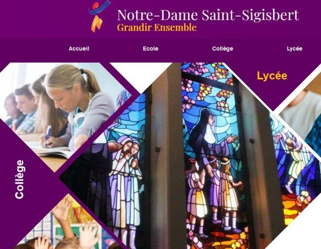 La page d'acceuil de St Sigisbert à Nancy est une des rares pages qui met en évidence la tutelle religieuse © Cité Scolaire Saint Sigisbert