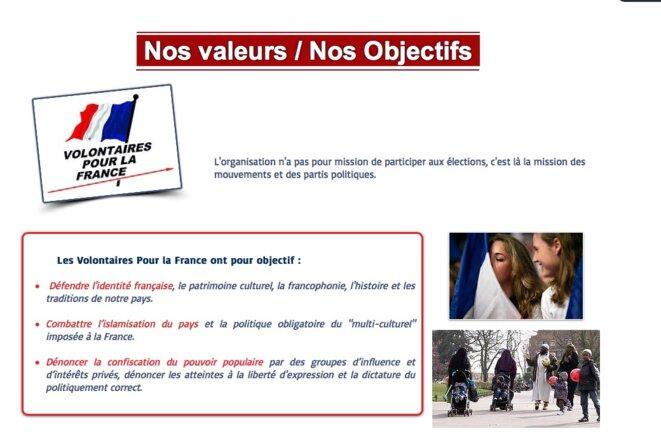 Capture d'écran du site des Volontaires pour la France.