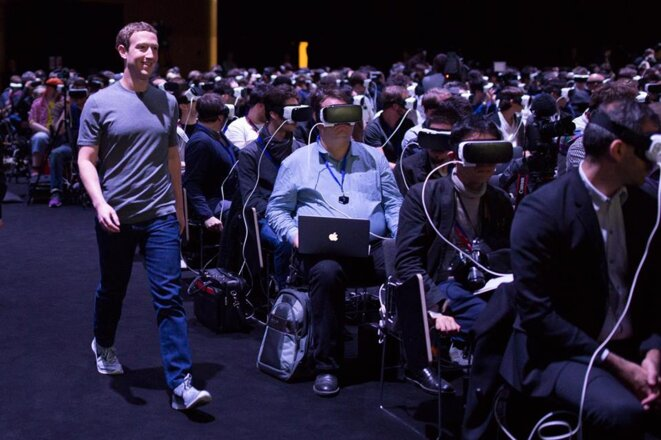 Mark Zuckerberg lors du Mobile World Congress en février 2016 à Barcelone © Facebook