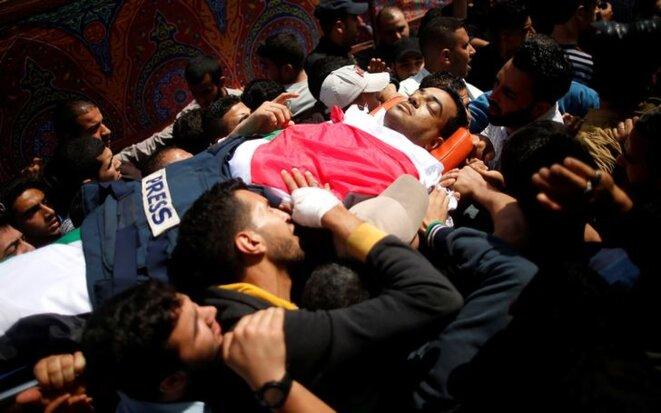 Les funérailles de Yasser Mourtaja, le 7 avril 2018 à Gaza City. © Reuters