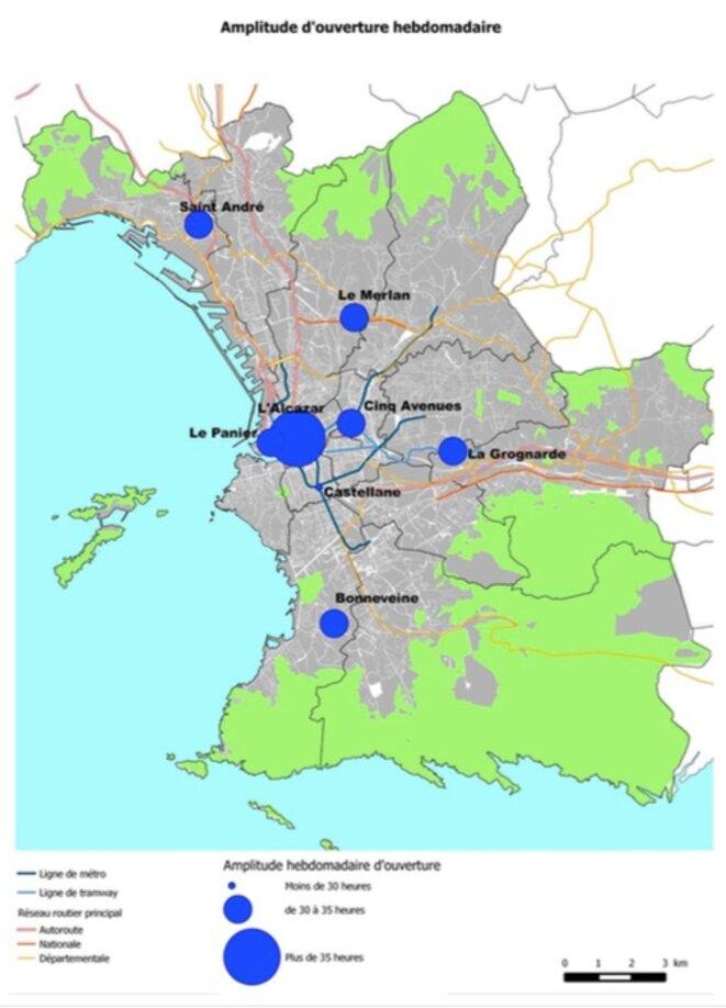 Carte du réseau des bibliothèques marseillaises avec leur amplitude horaire. © Cabinet ABCD