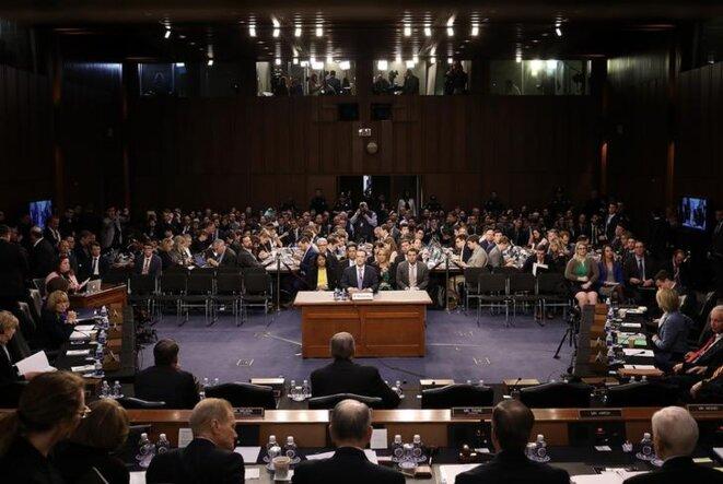 Mark Zuckerberg devant le Sénat américain, le 10 avril. © Mediapart