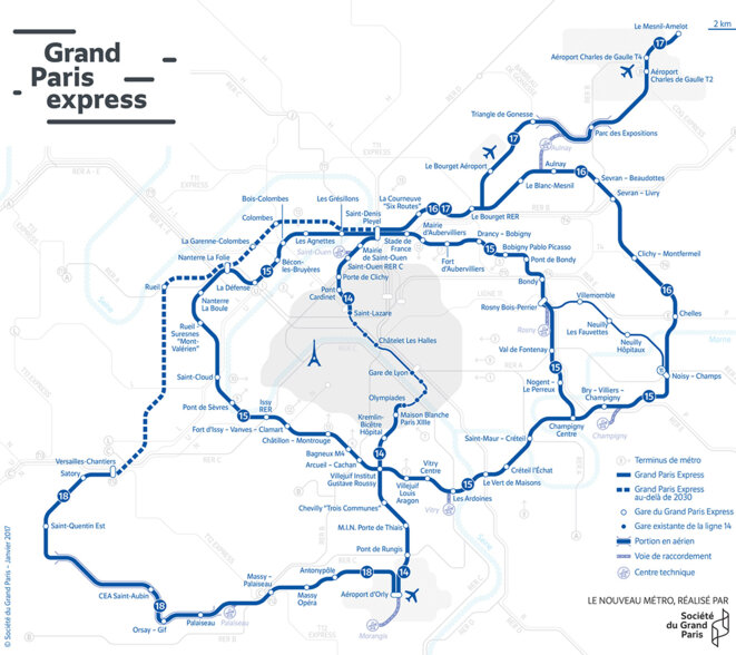 Plan du Grand Paris Express © Société du Grand Paris