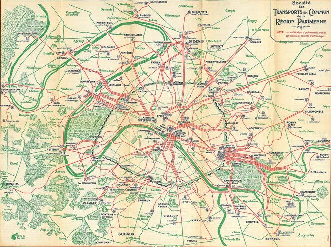 Plan du réseau de tramway d'Île-de-France en 1921 © Société des Transports en Commun de la Région Parisienne