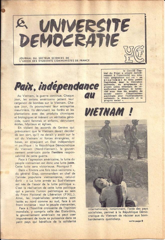 Journal du secteur sciences de l'UECF, décembre 1967, page 1/8 © UECF, union des étudiants communistes de France