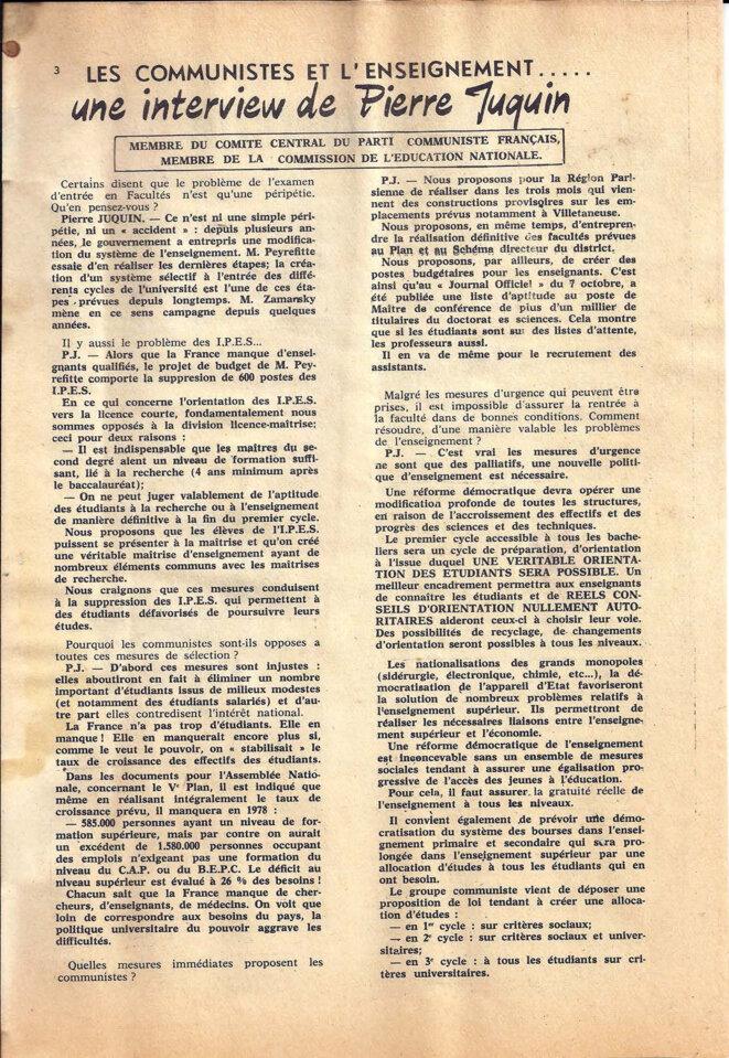 Journal du secteur sciences de l'union des étudiants communistes de France, décembre 1967, page 3/8 © UECF, union des étudiants communistes de France