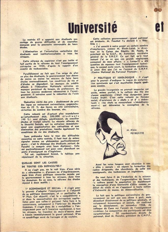 Journal du secteur sciences de l'union des étudiants communistes de France, décembre 1967, page 4/8 © UECF, union des étudiants communistes de France
