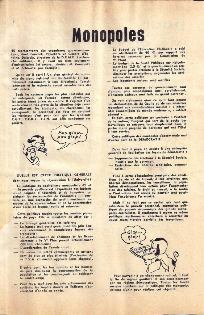 Journal du secteur sciences de l'UECF, décembre 1967, page 5/8 © UECF, union des étudiants communistes de France