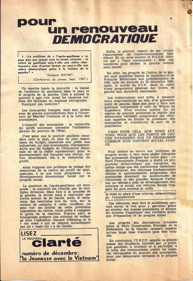 Journal du secteur sciences de l'UECF, décembre 1967, page 6 /8 © UECF, union des étudiants communistes de France