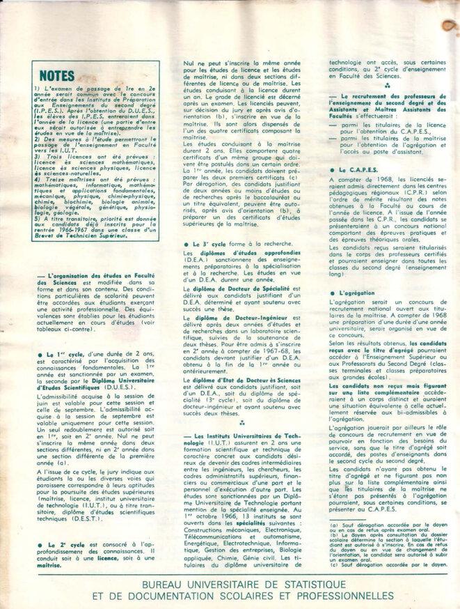 Schéma du nouveau régime des études 1966-67, page 4/4 © Bureau universitaire de statistique et de documentation scolaires et professionnelles (Mars 1967).