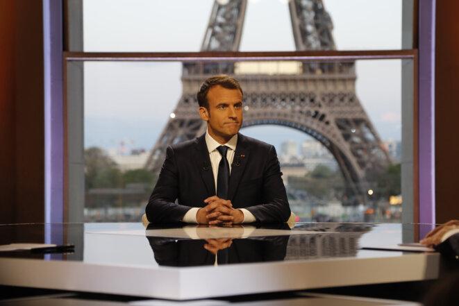 Emmanuel Macron, le 15 avril, au Palais de Chaillot. © Reuters