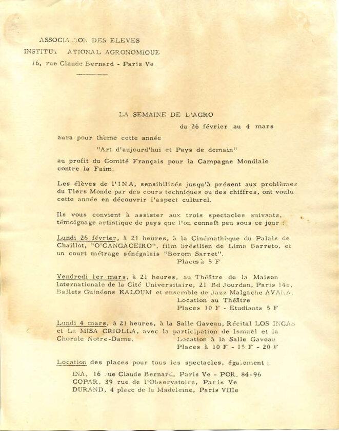 """la semaine de l'agro du 26 février au 4 mars 1968 au profit du comité français pour la campagne mondiale contre la faim © Association des élèves d""""Agro-Paris, Institut National agronomique"""