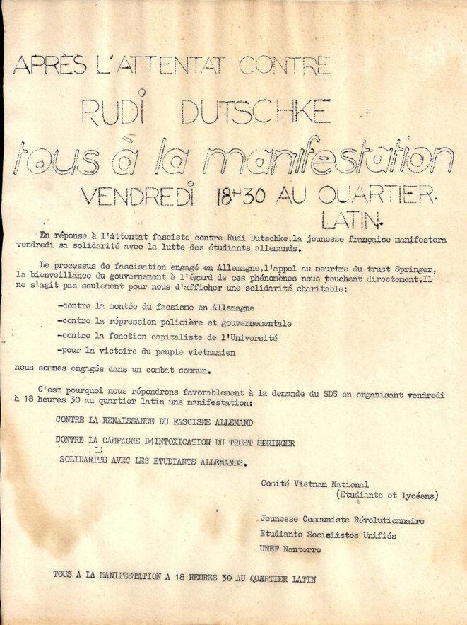 Appel à manifestation le vendredi 11 avril au quartier latin après l'attentat de Rudi Dutschke © Comite Vietnam national, jeunesse communiste révolutionnaire, étudiants socialistes unifiés, UNEF Nanterre