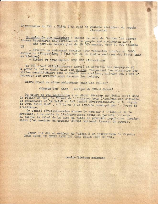 Occupation du QG de l'Etat Major fantoche le 1er février à Saïgon, courrier Vietnam 149, suite © Comité Vietnam sciences