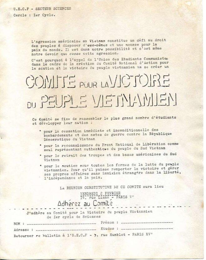Création du comité national d'action pour le soutien et la victoire du peuple vietnamien le 2 février 68 © UECF, secteur sciences, Jussieu