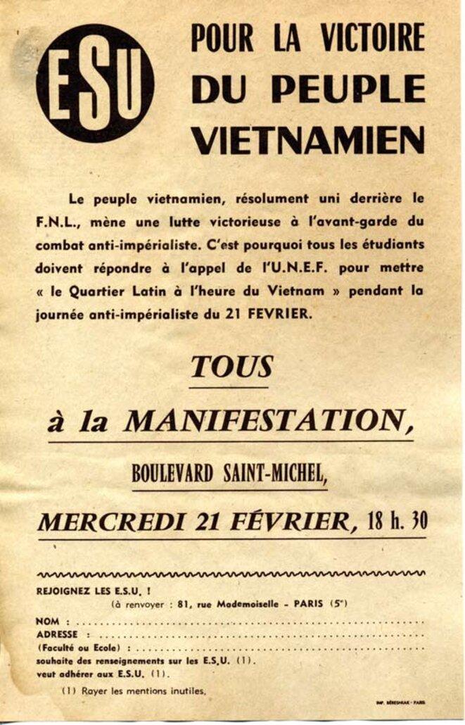 """""""Le Quartier Latin à l'heure du Vietnam"""" © ESU-UNEF"""