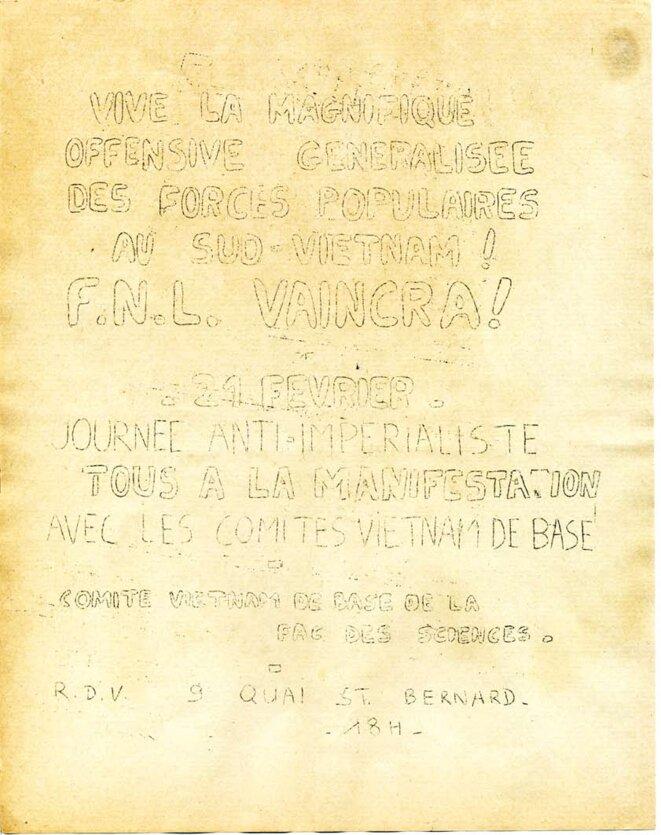 appel à la manifestation du 21 février pour le peuple vietnamien © Comité Vietnam de base de la fac des sciences 1968