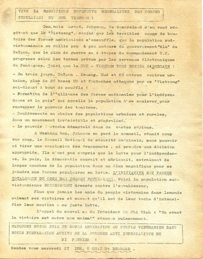 suite © comité Vietnam de base de la fac des sciences 1968