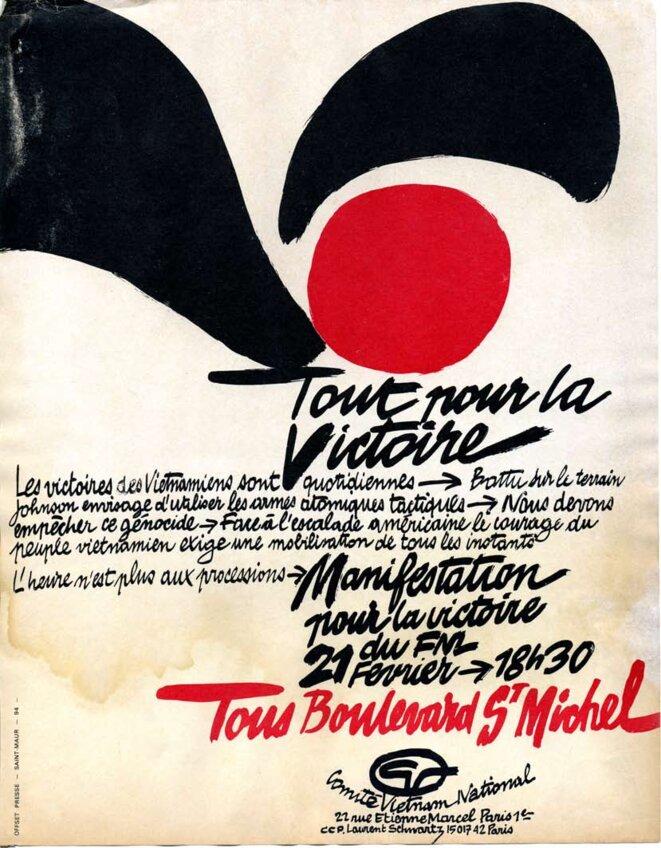 Guerre du Vietnam, appel à la manifestation pour la victoire du FNL  le 21 février, boulevard Saint-Michel © CVN Comité Vietnam National