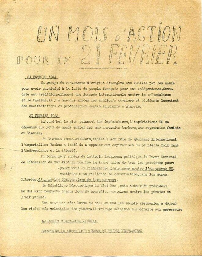 21 février 1944 - 21février 1968; appel à la manifestation © Comités Vietnam de base lycéens et étudiants