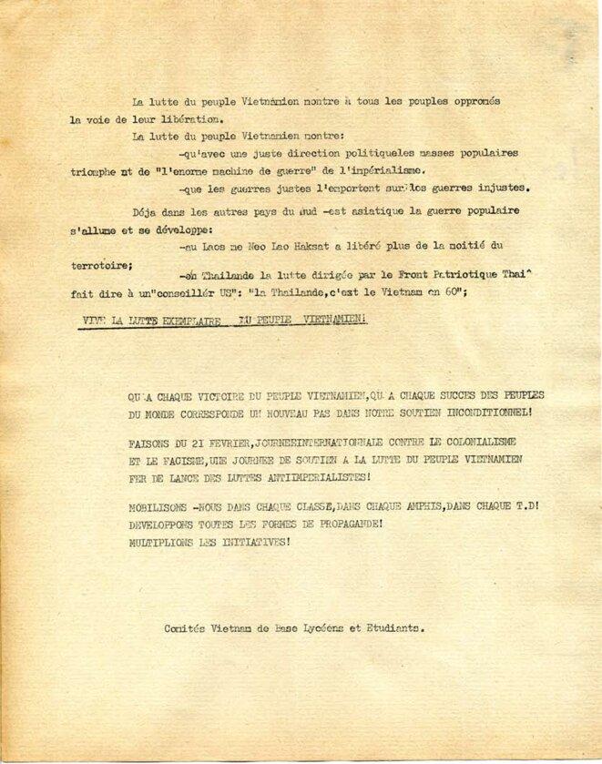 21 février 1944 - 21février 1968; appel à la manifestation (suite) © Comités Vietnam de base lycéens et étudiants