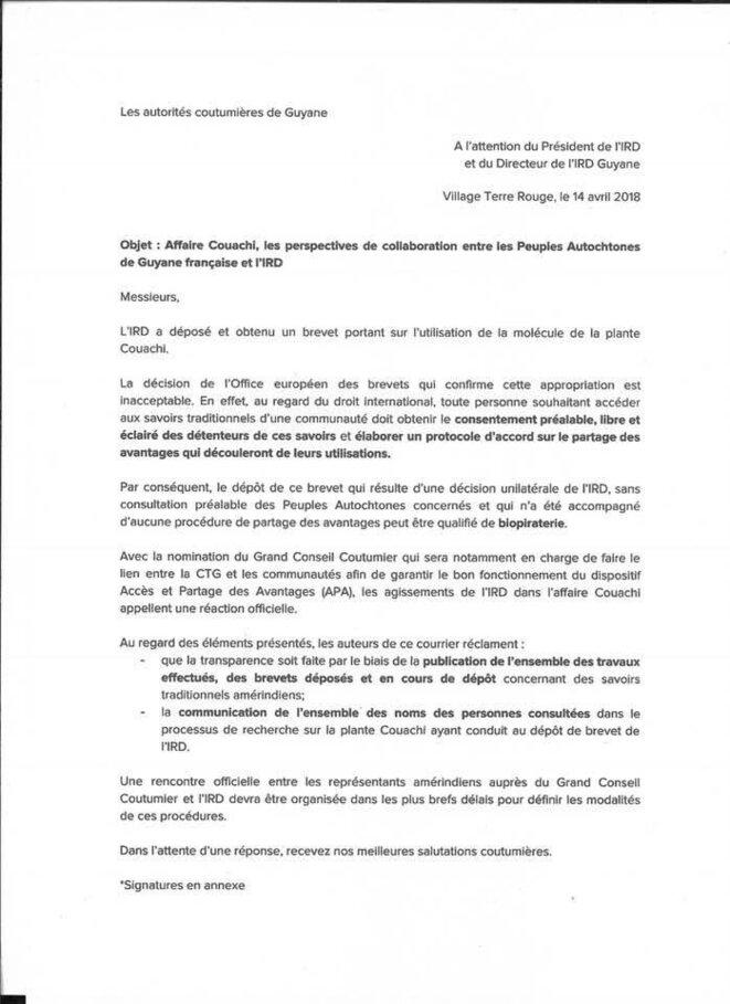 Autorité coutumières de Guyane VS Institut de Recherche Dévellopelent (IRD) 1/2.